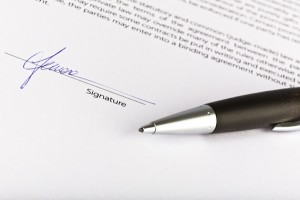 signed contract agreement with pen