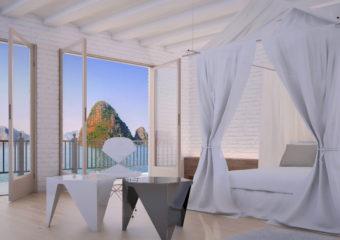 Sypialnia z białymi meblami