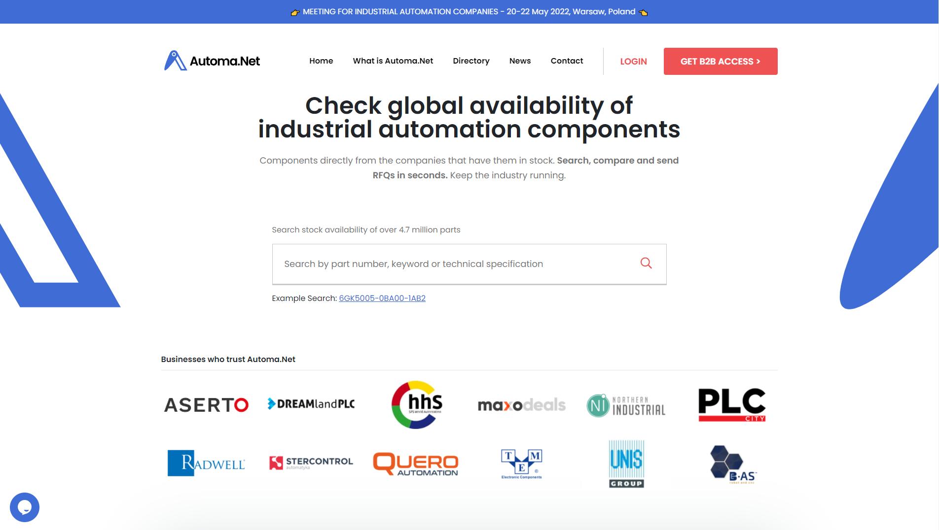 Automa.Net - platforma do wyszukiwania części automatyki przemysłowej